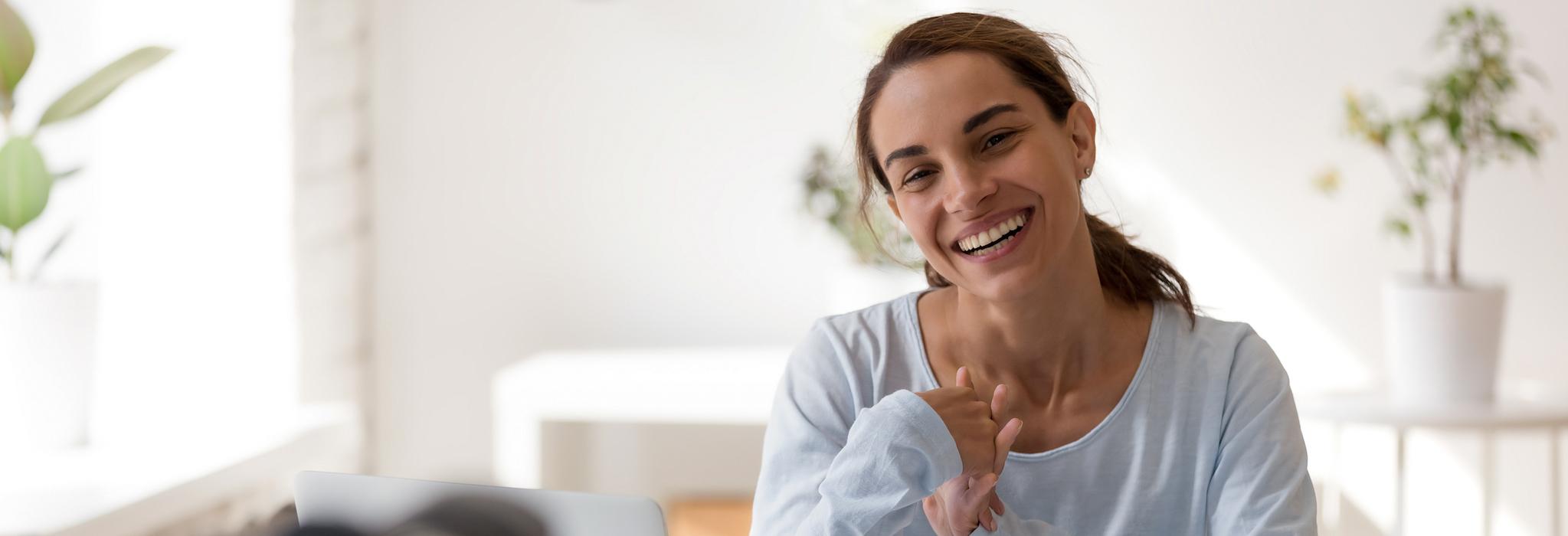 Woman managing marketing website