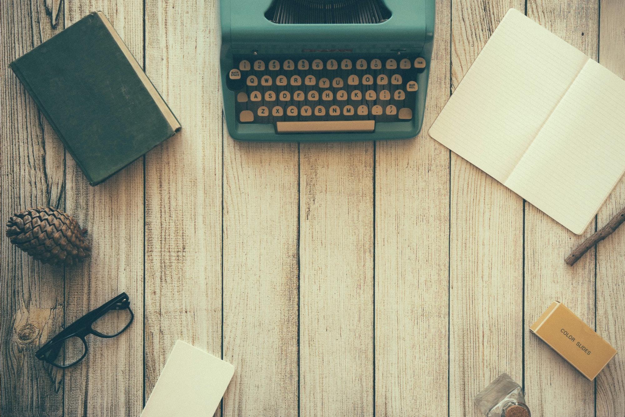 Organised desk with blogging typewriter